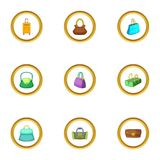 Bags for all occasion icons set, cartoon style Stock Image