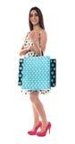 bags bärande glamorös shopping för kvinnlig Royaltyfri Bild