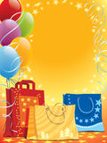 Bags and balloons. Illustration of shopping bags and colorful balloons Stock Photography