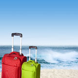 Bags and beach Royalty Free Stock Image