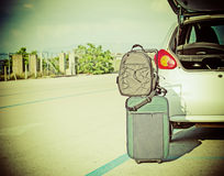 Bags by car trunk Stock Image