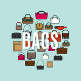 Bags cartoon icons in circle shape Royalty Free Stock Photography