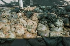 Bags of cement on floor royalty free stock photo