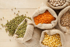 Bags with cereal grains Stock Photos