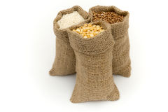 Bags of cereals. Set cereals. Royalty Free Stock Photos