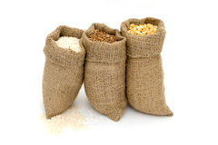 Bags of cereals. Set cereals. Royalty Free Stock Photo