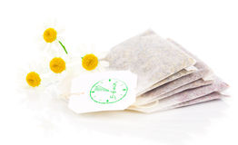 Bags of chamomile tea with fresh camomile flower Royalty Free Stock Images