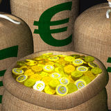 Bags Of Coins Showing European Earnings Royalty Free Stock Photos