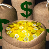 Bags Of Coins Shows American Wealth Stock Images