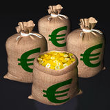 Bags Of Coins Shows European Economy Royalty Free Stock Image