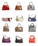 Bags collection. Collection of woman bags isolated on white background Stock Photos