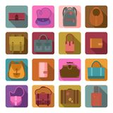 Bags colored flat icons set Stock Photos