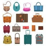 Bags colored icons set Royalty Free Stock Photos