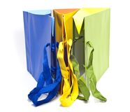 Bags of colored paper Royalty Free Stock Images
