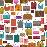 Bags colored seamless pattern. Women fashion and travel baggage bags shopping seamless pattern vector illustration Stock Photography