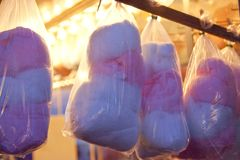 Bags of cotton candy stock photos