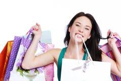 bags den lyckliga shoppingkvinnan Arkivbilder