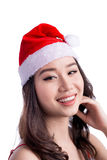 bags den santa kvinnan Isolerade den asiatiska modellen Girl för skönhet i Santa Hat nolla Arkivfoton