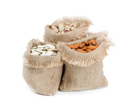 Bags with different nuts Stock Images