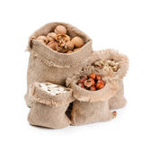 Bags with different nuts Royalty Free Stock Image