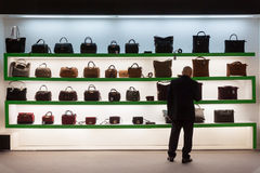 Bags on display at HOMI, home international show in Milan, Italy Royalty Free Stock Photography