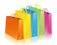 bags färgrik shopping Arkivfoton