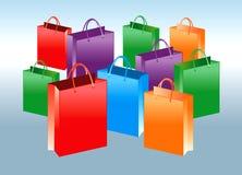 bags färgrik shopping stock illustrationer
