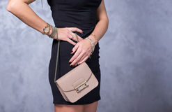 Bags fashion trends. Close up of gorgeous stylish bag. Fashionab Stock Photos