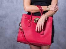 Bags fashion trends. Close up of gorgeous stylish bag. Fashionab Royalty Free Stock Photo
