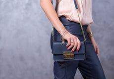 Bags fashion trends. Close up of gorgeous stylish bag. Fashionab Royalty Free Stock Image