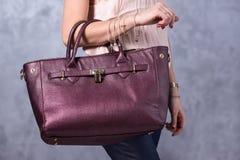 Bags fashion trends. Close up of gorgeous stylish bag. Fashionab Royalty Free Stock Photos