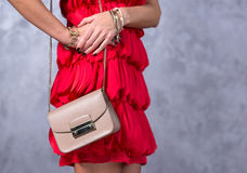 Bags fashion trends. Close up of gorgeous stylish bag. Fashionab Royalty Free Stock Photography
