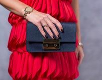 Bags fashion trends. Close up of gorgeous stylish bag. Fashionab Stock Photography