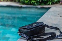 Bags fashion trends. Close up of gorgeous stylish snakeskin python bag. Luxury handbag closeup. royalty free stock photography