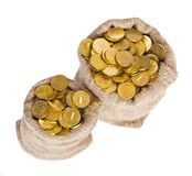 Bags filled with coins. Royalty Free Stock Photo