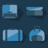 Bags flat design. In blue Stock Images
