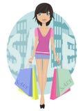 bags flickaförsäljning Stock Illustrationer