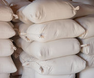 Bags of Flour. Sacks of flour stacked as it was done in the old days Royalty Free Stock Image