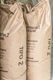 Bags of flour. Stone ground in a ancient mill, ready to be distributed Royalty Free Stock Photo