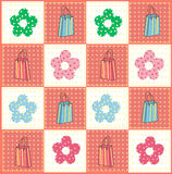 Bags and flowers pattern. Vector illustration of bags and flowers pattern, light background Royalty Free Stock Photography