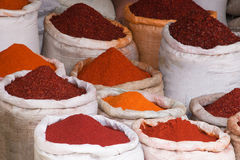 Bags full of spices on a market Stock Image