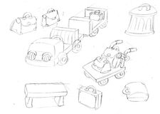 Bags and garbage and bench ,sketches and pencil sketches and doodles Royalty Free Stock Photos