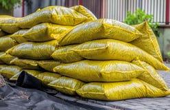 Bags with garden bark Stock Photo