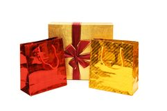 Bags and gift box isolated white Stock Photos