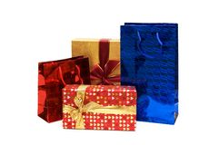 Bags and giftbox isolated. On the white Stock Photos