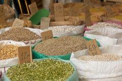 Bags of Grain from Marrakech Medina Stock Photo