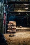 Bags of Grain - Abandoned Old Crow Distillery - Kentucky. Bags of grain are stacked inside the long abandoned Old Crow Distillery near Frankfort, Kentucky stock photo