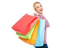 bags härligt shoppingkvinnabarn Arkivbild