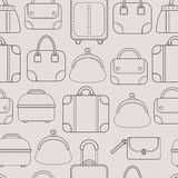 Bags. Hand bags and Luggage for travel. Seamless pattern. Vector Royalty Free Stock Image