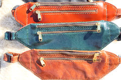 Bags handmade of leather Royalty Free Stock Photography